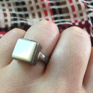 Square Mother of Pearl & Sterling Silver VTG Ring